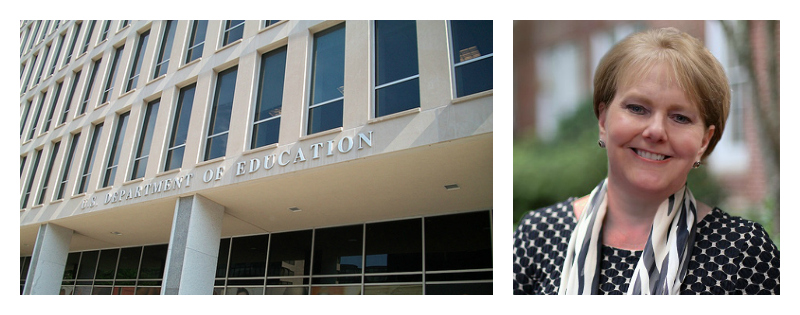 A collage of two pictures: the Department of Education building and  Patricia Snyder.