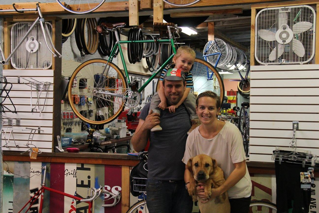 Jamie Aulton and her family at the bike shop.