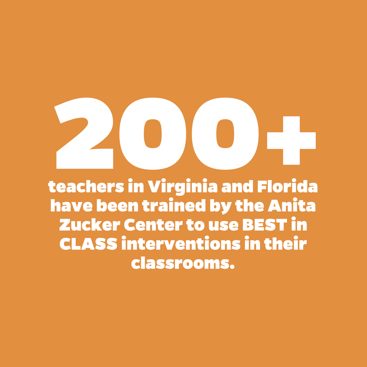 Over 200 teacher in Virginia and Florida have been trained by the Anita Zucker Center to use BEST in CLASS interventions in their classrooms