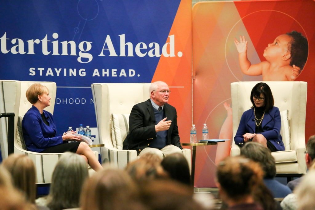 Patricia Snyder, David Lawrence, Jr., and Diane McFarlin sitting on a stage discussing important matters.